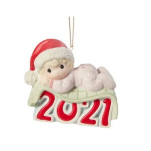 Precious Moments Baby's 1st Christmas 2021 Girl Ornament